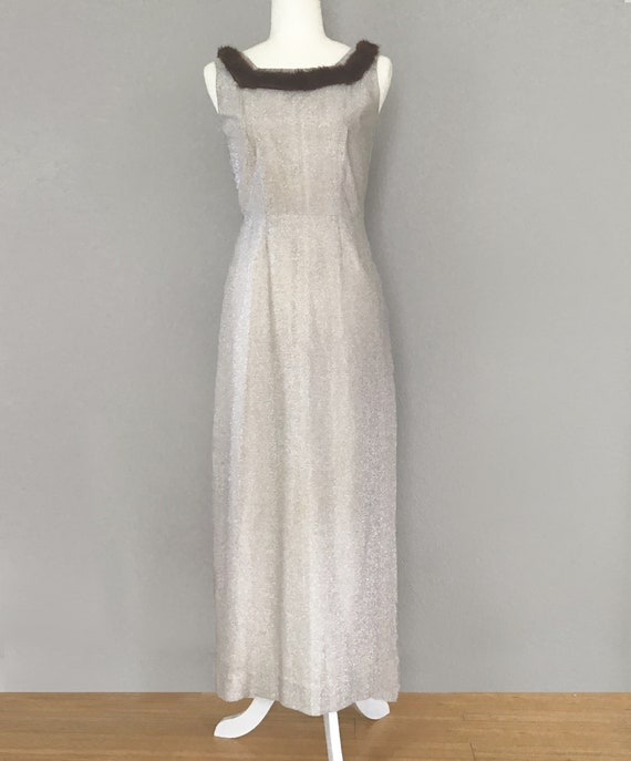 1960s Silver Evening Gown