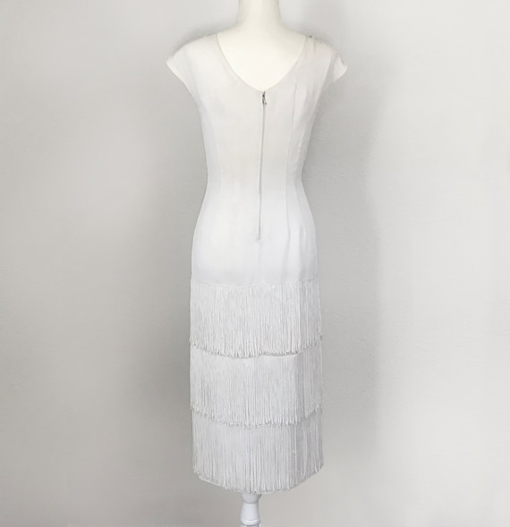 Authentic 1930s White Fringed Flapper Dress - image 3