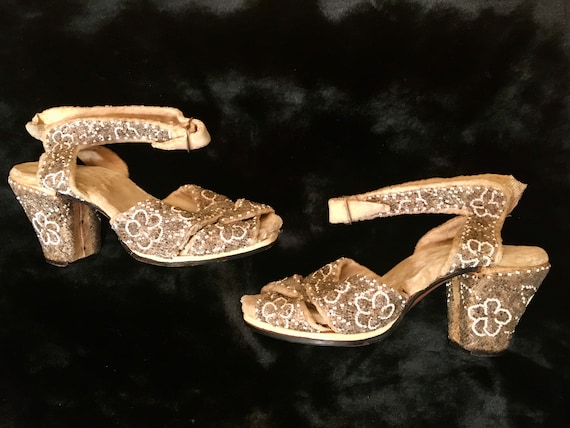 Exquisite Pair of Beaded 1930's Evening Shoes ~ Ol