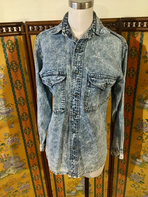 Vintage 1980's Gap Acid Wash Denim Shirt ~ Acid Wa