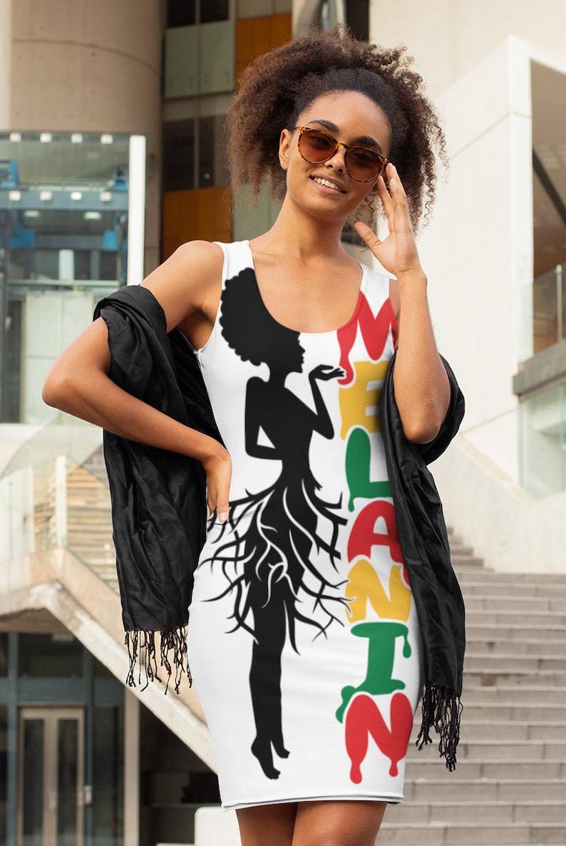 Melanin Afro African Roots Racerback Dress Black Women Clothing Glitter Gift for Her Jeans Print