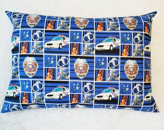 Travel Pillow Case / Child Pillow Case / Police Officer Pillowcase / 14x20 Toddler Pillow Cover