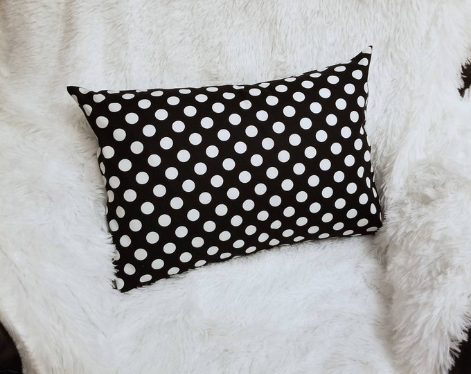 Travel Pillowcase / Accent Pillowcase / Black & White Large Polka Dots 14x20 Pillow Insert / Envelope Pillow Case
