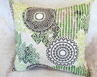 """Set of 2 Green, Ivory & Black Medallion Indoor Decorative Pillow Covers Fits 18"""" x 18"""" Throw Pillow Inserts"""