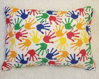 Travel Pillowcase / Child Pillowcase / Toddler Hand Print Paint Envelope Pillow Case