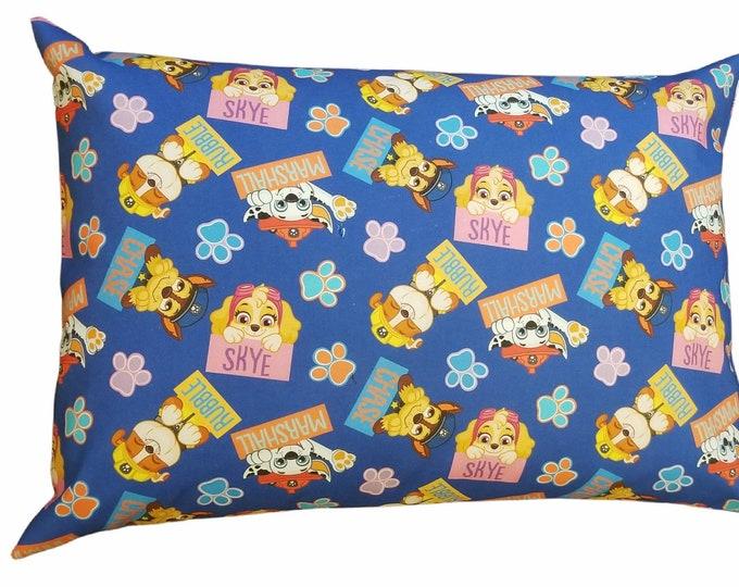 Paw Patrol Pillowcase / Travel Pillow Case / Child Pillow Case / Character Toddler Envelope Pillow Case / 12x16 Pillow Cover