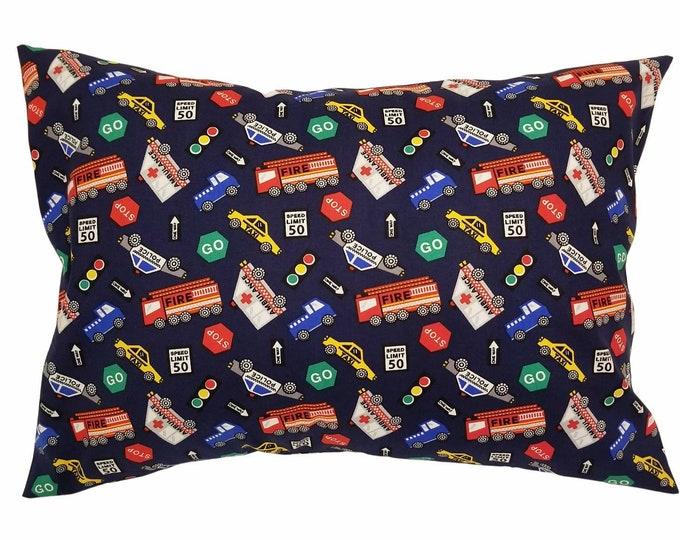 "Blue Traffic Firetruck Police Travel Pillowcase / Child Envelope Toddler Pillowcase Fits 13"" x 18"" Pillow Insert"