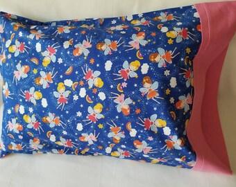 Standard Pillowcase / Fairy Dreams Cotton Pillow Case / Pink & White Polka Dots Pillow Case
