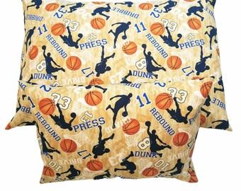 Basketball Standard Pillowcase / Child or Travel Pillow Case / Sports Pillow Cover Envelope Closure