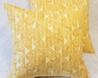 """Set of 2 Yellow Triangle Abstract 18"""" x 18"""" Indoor Decorative Throw Pillow Covers"""