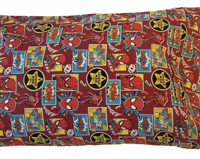 Child Pillowcase / Travel Pillowcase / Spiderman Comic Toddler Pillow Case / Super Heroes Spidey Pillow Cover