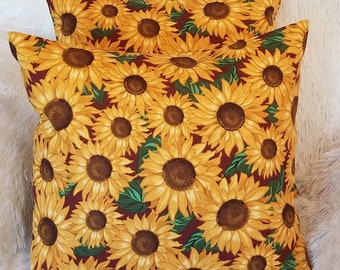 """Set of 2 Yellow Sunflower Throw Pillow Covers / Floral Sun Flower 18"""" x 18"""" Indoor Decorative Pillow Covers"""
