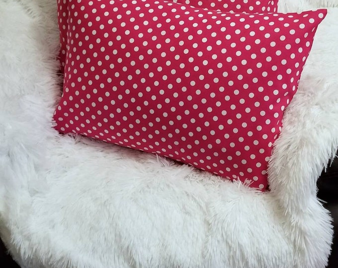 Travel Pillowcase / Child Pillowcase / Fuchsia Pink & White Polka Dots Pillow Case / Small Accent Envelope Pillow Cover
