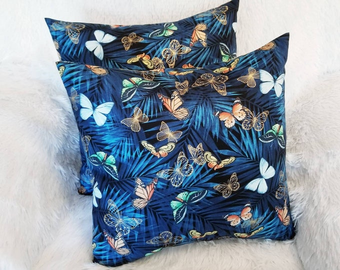 """Blue & Brown Butterflies Floral 16"""" x 16"""" Indoor Decorative Accent Throw Pillow Cover"""