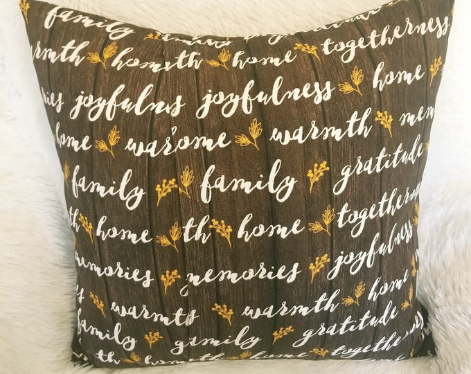 """Words Family Home Gratitude 18"""" x 18"""" Indoor Decorative Brown Throw Pillow Cover"""