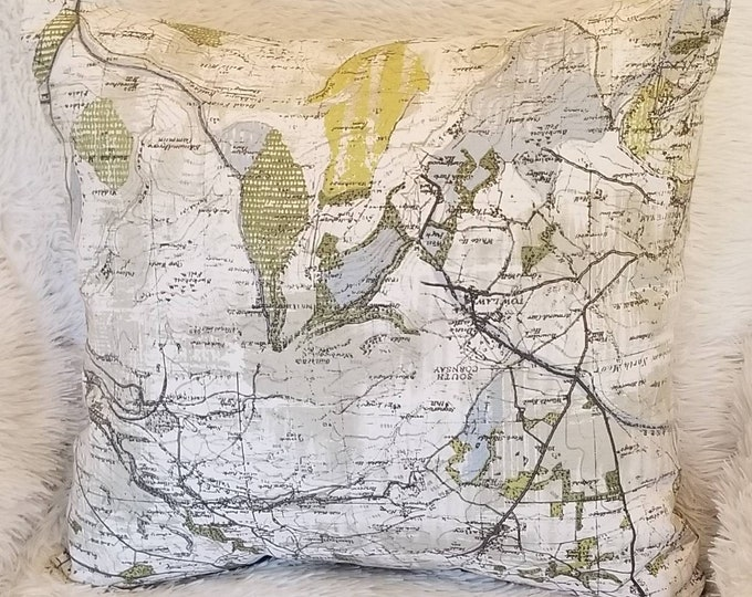 """Set of 2 Pillow Covers / Cream & Green Maps Indoor Decorative Pillow Covers / Fits 18"""" x 18"""" Throw Pillow Inserts"""