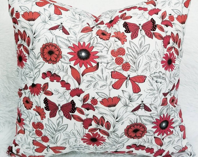 """Red & White Floral Butterflies Dragonflies 18"""" x 18"""" Indoor Decorative Pillow Cover"""