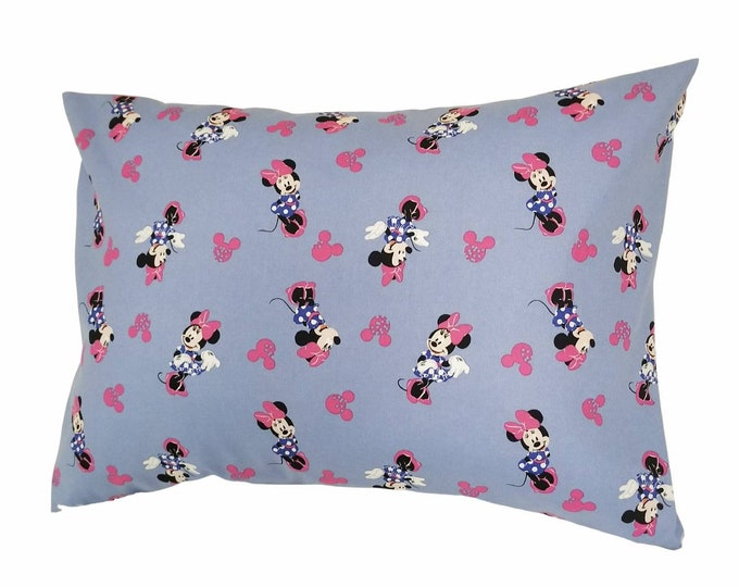 Travel Pillow Case / Child Pillow Case / Disney Minnie Mouse Blue & Pink Bow Pillowcase