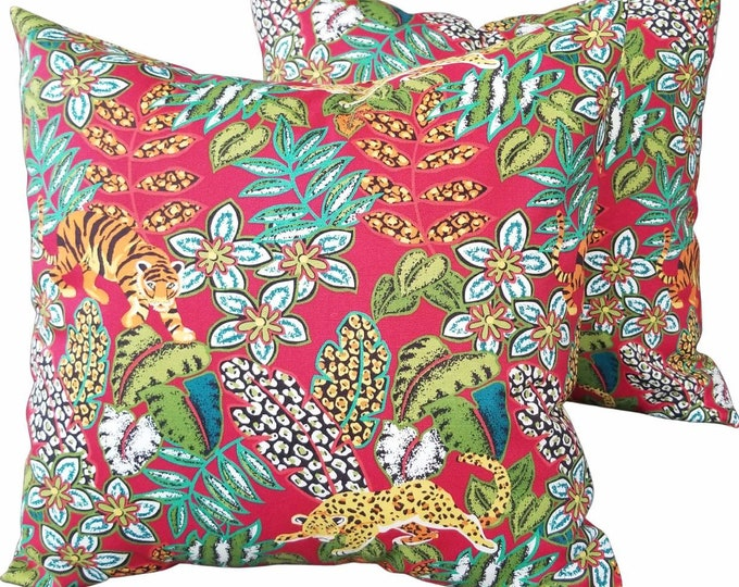 """Set of 2 Red & Green Floral Big Cat Tiger and Leopard Forest 18"""" x 18"""" Indoor Decorative Pillow Covers"""