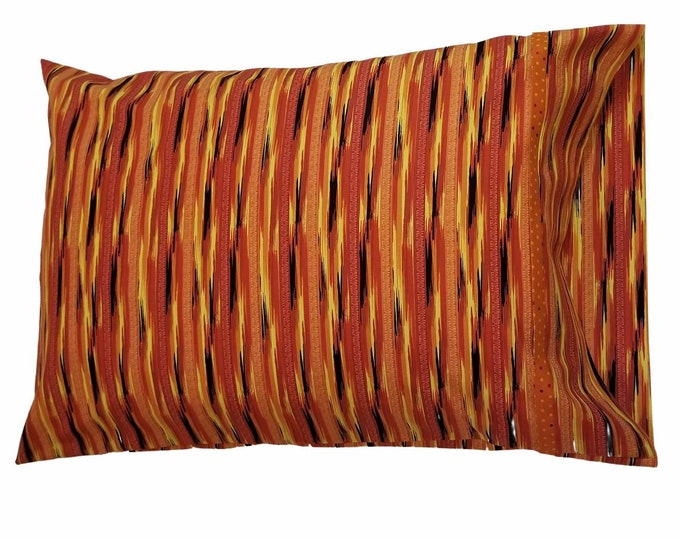 Standard Pillowcase / Orange Abstract Stripe Polka Dot Cotton Pillow Case