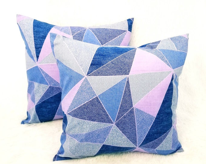 """Set of 2 Lavender Purple, Blue & Pink 18"""" x 18"""" Indoor Decorative Accent Pillow Covers"""