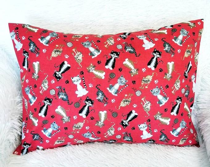 """Cutest Cat Pillowcase / Child or Travel Red Kitten Pillow Case Fits 13"""" x 18"""" Pillow Insert"""