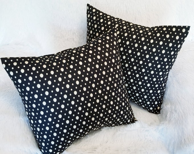 """Polka Dot Throw Pillow Cover / Black & Beige Cream 16"""" x 16"""" Indoor Decorative Accent Pillow Cover"""
