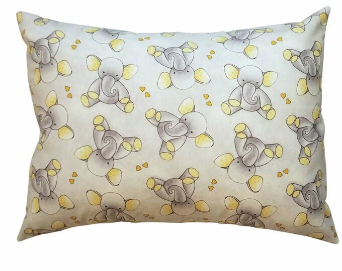 Travel Pillowcase / Child Pillow Case / Elephant Grey & Yellow Toddler Envelope Pillowcase / 12x16 Pillow Cover