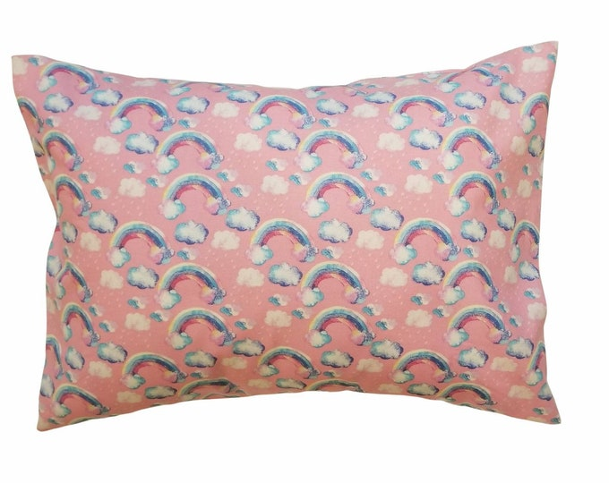 Child Pillowcase / Pink Rainbow Toddler Pillowcase / Kids Travel Pillow Case