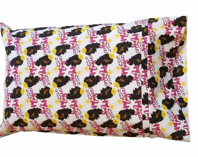 Child Pillow Case / Travel Pillow Case / Black Girl Magic Princess Pillowcase / Kids or Travel Character Pillowcase