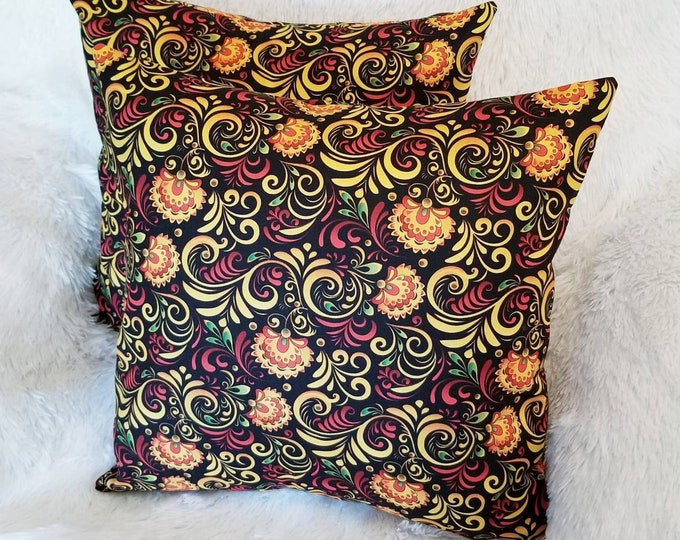 """Multicolor Floral Swirl 16"""" x 16"""" Indoor Decorative Throw Pillow Cover / Bed, Chair, or Sofa Accent Pillow"""