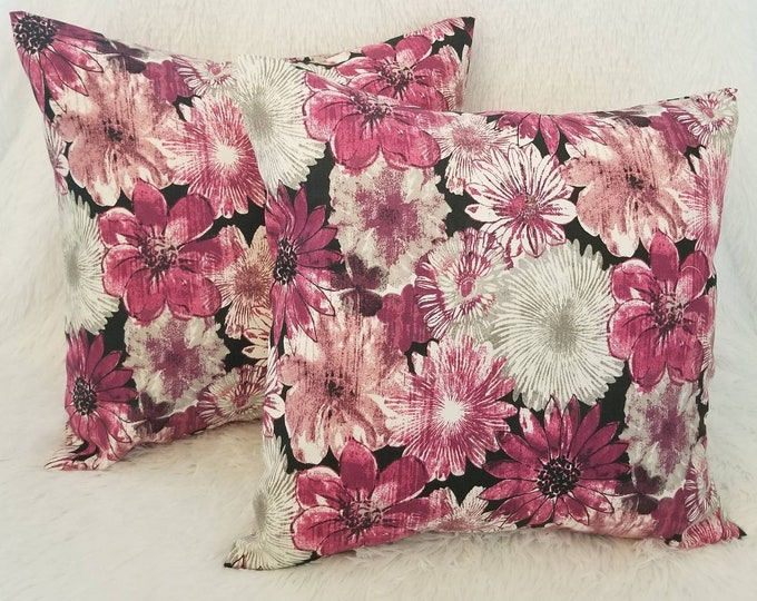 """Set of 2 Plum Pink Floral 18"""" x 18"""" Indoor Decorative Throw Pillow Covers"""