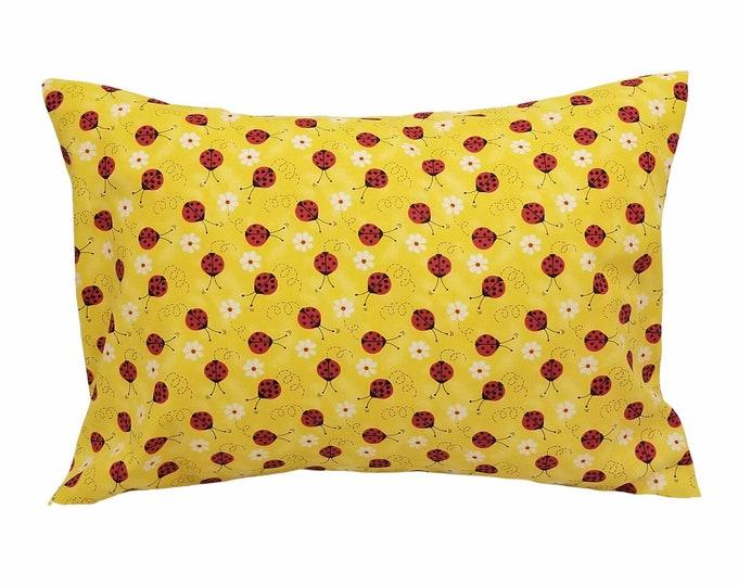 Kids Travel Pillowcase / Ladybug Yellow & Red Child Envelope Pillow Case
