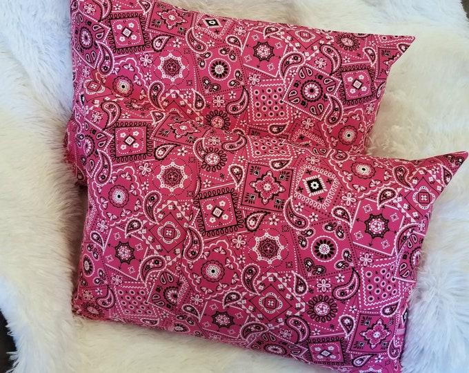 """Pink Bandana Paisley 14"""" x 20"""" Small Travel Pillowcase"""