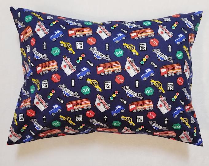 Child Travel Pillowcase / Kids Firetruck Police Traffic Light / Toddler Envelope Pillow Case