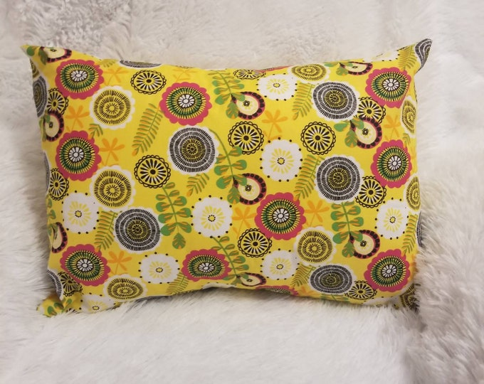 "Travel Pillowcase / Child Pillow Case / Yellow Flowers Decorative Floral Accent Pillowcase / 13""x18"" Pillowcase"