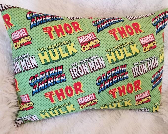 Child Pillowcase / Travel Pillowcase / Green Super Heroes Toddler Pillow Case with Envelope Back / 13x18 Pillowcase