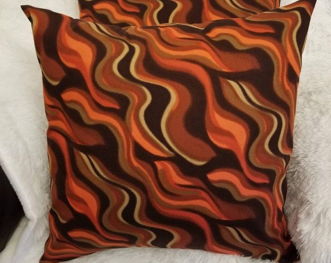 "Set of 2 Rust Orange & Brown Wavy Abstract 18"" x 18"" Indoor Decorative Throw Pillow Covers"