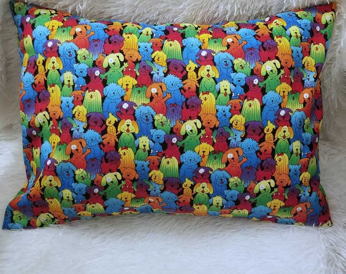 Child or Travel Pillowcase / Puppies & Dogs Bright Color Toddler Envelope Pillow Case
