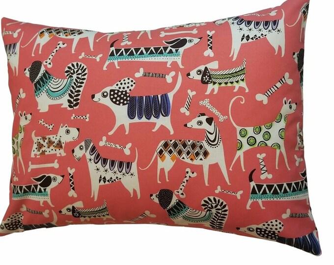 Travel Pillowcase / Child Pillow Case / Dog & Bone Red Toddler Envelope Pillowcase / 12x16 Pillow Cover