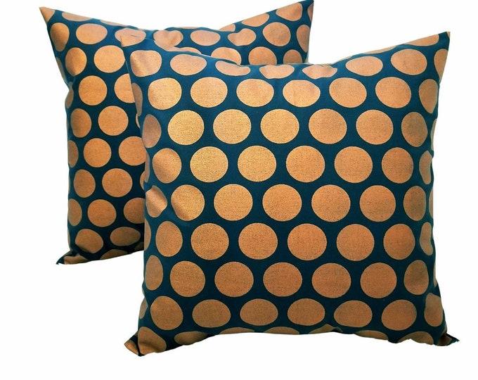 "Set of 2 Metallic Copper & Black Polka Dots 18"" x 18"" Indoor Decorative Throw Pillow Covers"