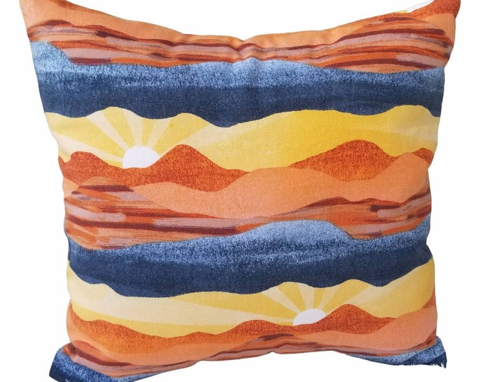 """Aztec Mountain Abstract Sun Beam Yellow, Orange & Blue 18"""" x 18"""" Indoor Decorative Removable Pillow Covers"""