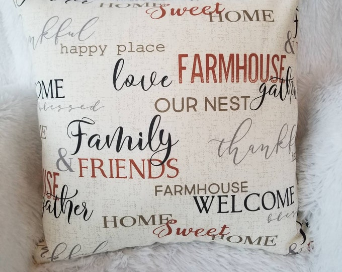 """Farmhouse Gather Home Sweet Home Family & Friends 18"""" x 18"""" Indoor Decorative Throw Pillow Cover"""