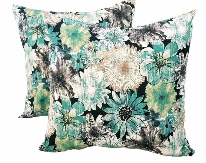 """Set of 2 Teal Green & Ivory Distressed Floral 18"""" x 18"""" Indoor Decorative Removable Throw Pillow Covers"""