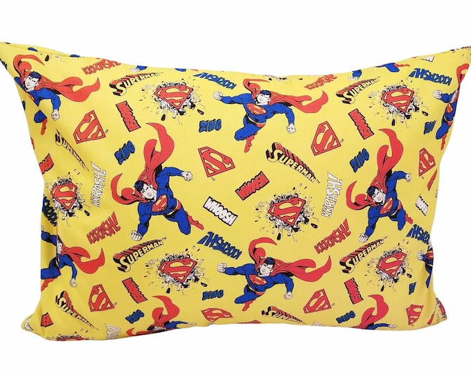 Superman Child Toddler Pillowcase / Kids Yellow Character Pillow Case / Fits 13x18 or 12x16 Pillow