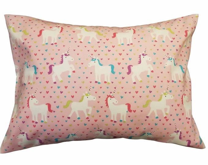Child Unicorn Pony Travel Pillowcase / Pink Hearts Toddler Pillow Case