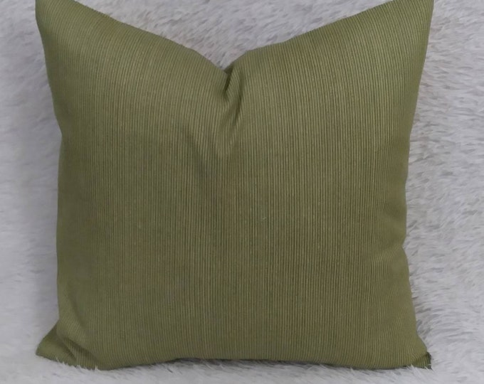 """Set of 2 Olive Green Indoor Decorative Throw Pillow Covers / Fits 18"""" x 18"""" Pillow Insert"""
