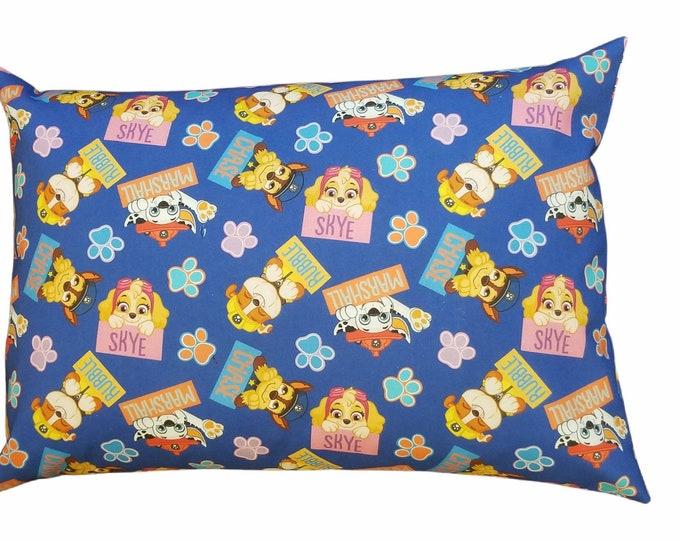Travel Pillowcase / Child Pillow Case / Blue Paw Patrol Toddler Envelope Pillowcase / 12x16 Pillow Cover