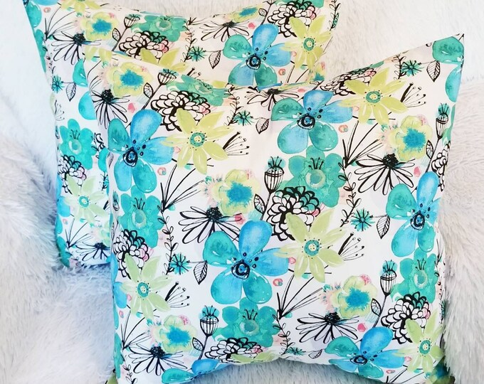 """Floral Teal Blue & Green 16"""" x 16"""" Indoor Decorative Throw Pillow Cover"""