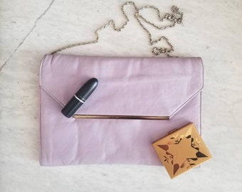 Vintage Lavender Leather Envelope Clutch with Chain Strap